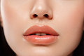 Perfect Lips. Sexy Girl Mouth close up. Beauty young woman Smile. Royalty Free Stock Photo