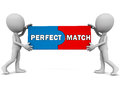 Perfect match two compatible pieces put together little d men white background Royalty Free Stock Photos