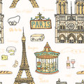 Perfect paris seamless pattern with all symbols of a capital tour eiffel carrousel notre dame de cheese wine vector Stock Images