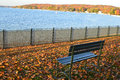 A Perfect Place to Sit, Fall Colors, Park Bench Royalty Free Stock Photo