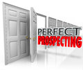 Perfect prospecting practicing sales techniques opening customer d words in an open door to illustrate to sell to new customers or Stock Photography