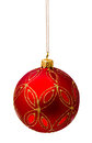 Perfect red christmas ball isolated on white Royalty Free Stock Photo
