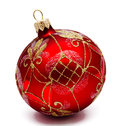 Perfect red christmas ball isolated Royalty Free Stock Photo