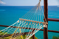 Perfect relaxation hammock ideal place for relax white with tropical sea view Stock Photo