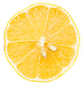 Perfect sliced lemon with two sectioned seeds close up of Royalty Free Stock Image