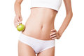 Perfect slim woman body diet concept with apple Stock Image