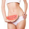 Perfect slim woman body diet concept with watermelon Stock Images