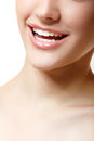 Perfect smile of beautiful woman with great healthy white teeth isolated over background Royalty Free Stock Photography