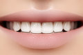 Perfect smile of young beautiful woman, perfect healthy white teeth. Dental whitening, ortodont, care tooth and wellness Royalty Free Stock Photo