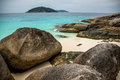 Perfect tropical island beach and rocks with turqoise sea at sim similan marine park thailand south east asia Stock Photos