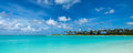 Perfect tropical island paradise beach Maldives, panorama format Royalty Free Stock Photo