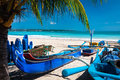 Perfect tropical island paradise beach and old boat Royalty Free Stock Photo