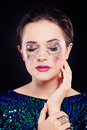 Perfect Woman with Artistic Makeup and Glitters Eye Shadow Royalty Free Stock Photo