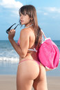 Perfect woman back in the beach beautiful girl with bikini at seaside blue Stock Photo