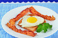 Perfection in fried egg sunny side up on white plate with bacon and toast in blue gingham setting with touch of green added by Stock Photo