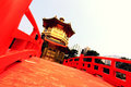 Perfection pavilion with red bridge wooden in hongkong Royalty Free Stock Photo