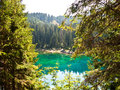 Perfectly clear emerald lake in dolomites Stock Images