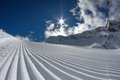 Perfectly groomed empty ski piste see my other works in portfolio Royalty Free Stock Photo