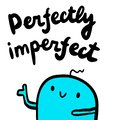 Perfectly imperfect hand drawn illustration with cute blue marshmallow in cartoon style