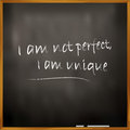 Perfectly unique vector illustration of a quote i am not perfect i am Royalty Free Stock Photo