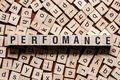 Perfomance word concept