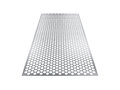Perforated sheet, 3D rendering, isolated on white background