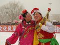 Perform traditional dance Yangge in the snow Royalty Free Stock Image