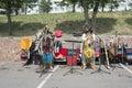 Performance of ethnic ensemble on anniversary the city krasnoyarsk Royalty Free Stock Photo
