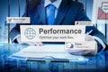 Performance level development accomplishment concept Stock Images