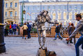 Performance in the open air in St. Petersburg. Pantomime. In the summer of 2016. Street performances the enjoyment of life.