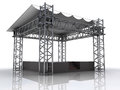 Performance stage podium with plastic roof perspective illustration Royalty Free Stock Photography