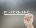 Performance text with hand writing Stock Images