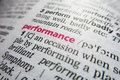 Performance word dictionary definition Royalty Free Stock Photo
