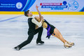 Performances young figure skaters in pair skating short program Royalty Free Stock Photo
