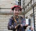 Performer at edinburgh fringe festival august member of tjimur dance theatre publicize their show kurakuraw dance glass bead Royalty Free Stock Photography