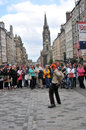Performers at edinburgh festival at the street Royalty Free Stock Photo