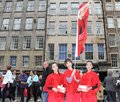 Performers at edinburgh fringe festival august members of jade and artist dance troupe publicize their show dracula during on Stock Image
