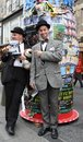 Performers at edinburgh fringe festival august members of lucky dog theatre productions publicize their show hats off to laurel Stock Photos