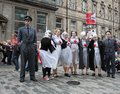 Performers at edinburgh fringe festival august members of the about turn theatre company publicize their show dido and aeneas Royalty Free Stock Photo