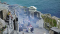 Performers minack theatre cornwall on stage of the world famous a haze of smoke appears during this act Stock Images