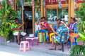 Performers native greeting tourists in borabora island french polynesia Royalty Free Stock Images