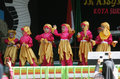 Performing art kindergarten students perform on a stage arts in the city of solo central java indonesia Royalty Free Stock Images
