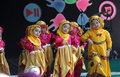 Performing art kindergarten students perform on a stage arts in the city of solo central java indonesia Royalty Free Stock Photo