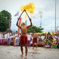 Performing arts fire sword dance cultural traditions chiang mai thailand july the of the ancient lanna or ancient people of Stock Images