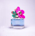 Perfume blue pink bottle in a stunning and amazing smell Royalty Free Stock Photos