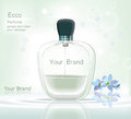 Perfume bottle Cosmetic ads template, droplet bottle mock up isolated on dazzling blue background. Place for brand text