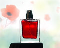 Perfume bottle of fragrance on a floral background Stock Photos