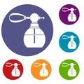 Perfume bottle with vaporizer icons set