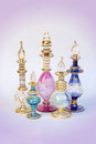 Perfume bottles a colorful collection of arabian Stock Photos