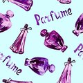 Perfume bottles, hand painted watercolor illustration, inscription `Parfume` in French Royalty Free Stock Photo